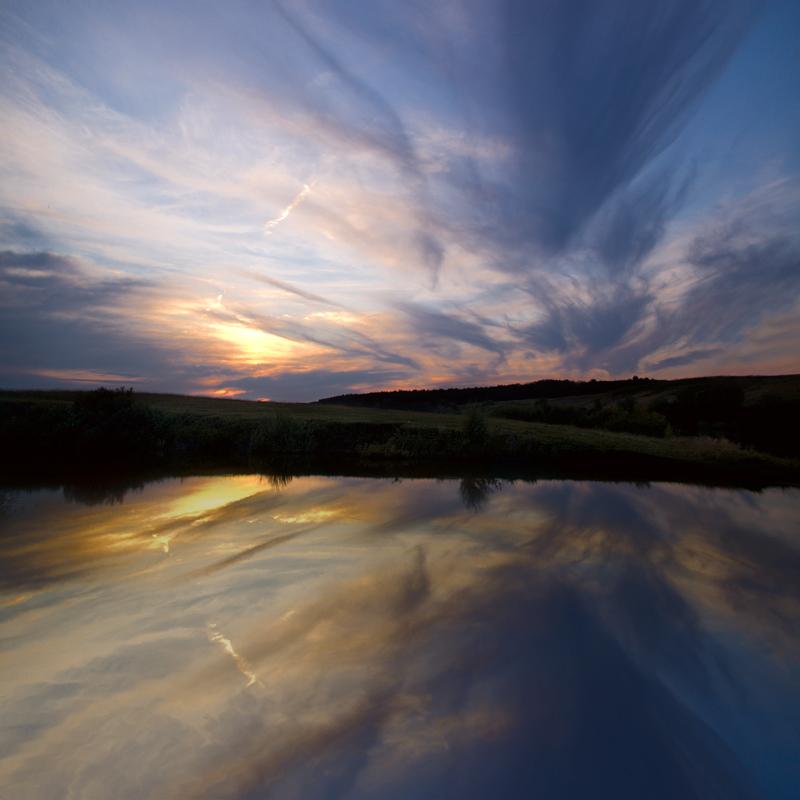 Закат над прудом.